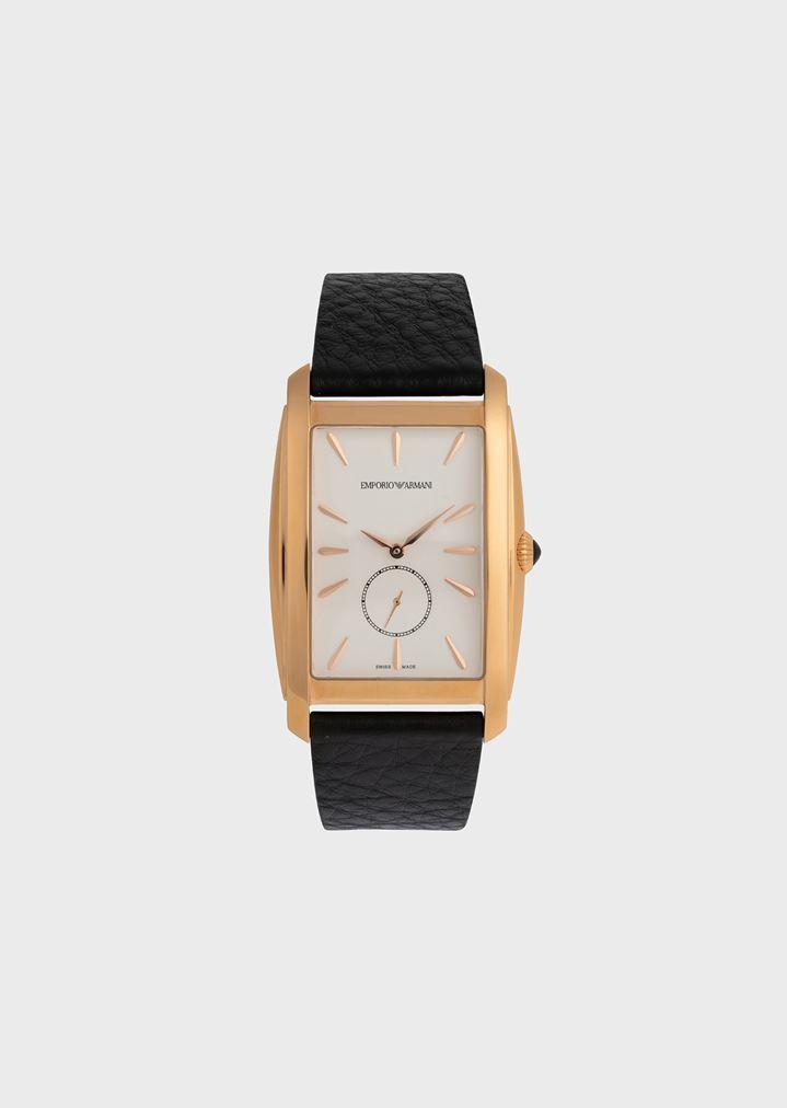 c6cbcb8292 Reloj suizo con correa de piel abatanada | Hombre | Emporio Armani