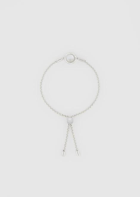 Sterling silver bracelet with Emporio Armani logo charm