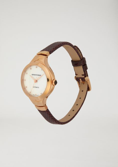 Automatic watch with croc-print strap