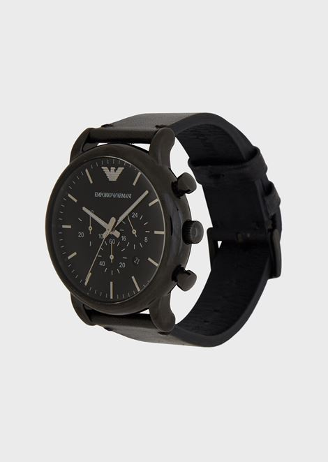 Chronograph with black-plated steel case, leather strap and tonal face