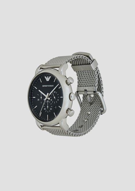 Cronografo con cassa e cinturino in acciaio a maglia milanese