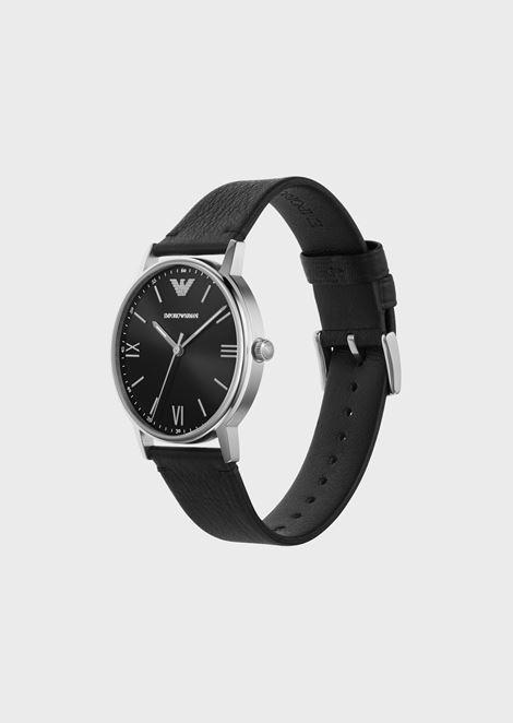 Man three-hands leather watch