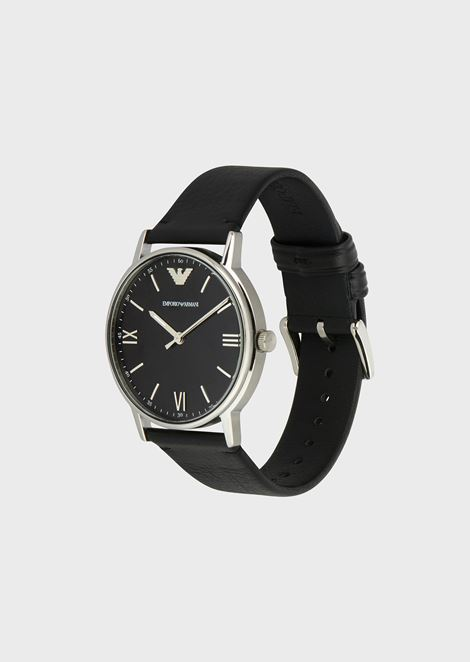 Water-resistant stainless-steel watch with leather strap
