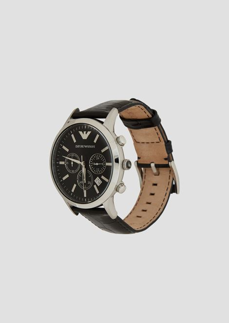 Chronograph with steel case and strap in crocodile-effect leather