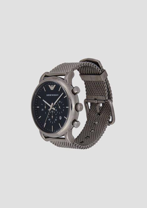 Cronografo con cinturino in acciaio a maglia milanese placcato grigio canna di fucile (o grigio scuro)