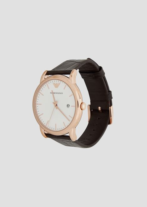 Man three-hands leather watch