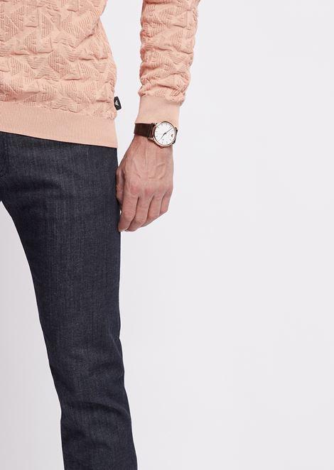 Orologio con cassa in acciaio e indici placcati oro rosa,  cinturino in pelle cocco