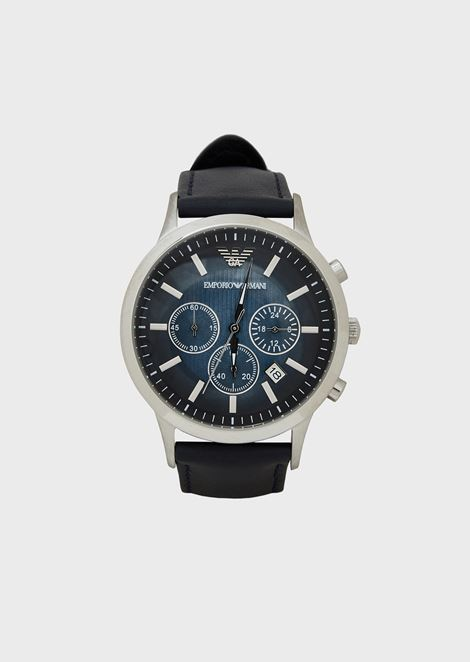 Chronograph with steel case, gradient colour face and leather strap
