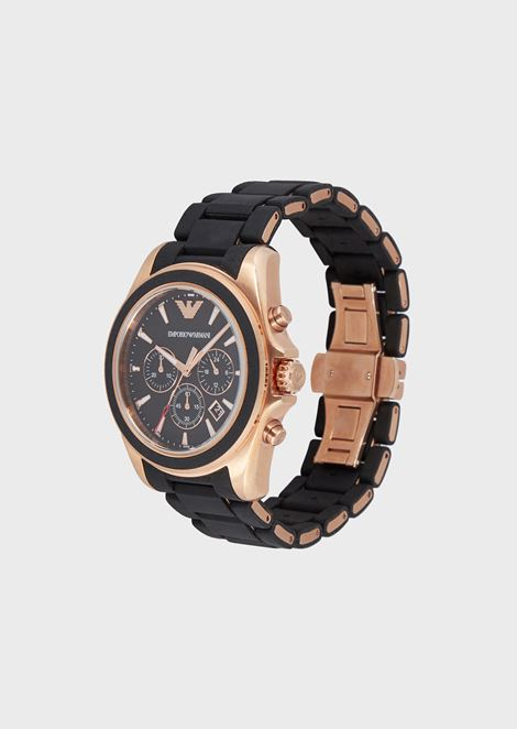 Chronograph with opaque silicone strap and rose-gold-plated details