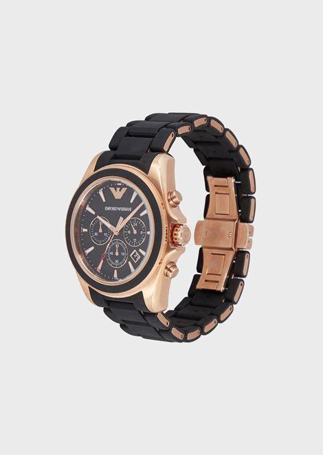 Cronografo con cinturino in silicone opaco e dettagli placcati oro rosa