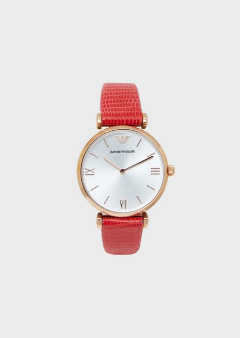 Women's rose-gold-plated watch with red leather strap