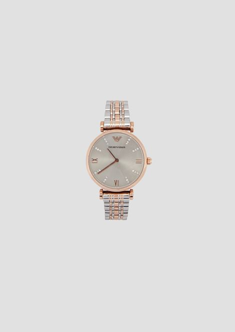 73949f2441ba Watch with band in interlaced links and crystals on the face
