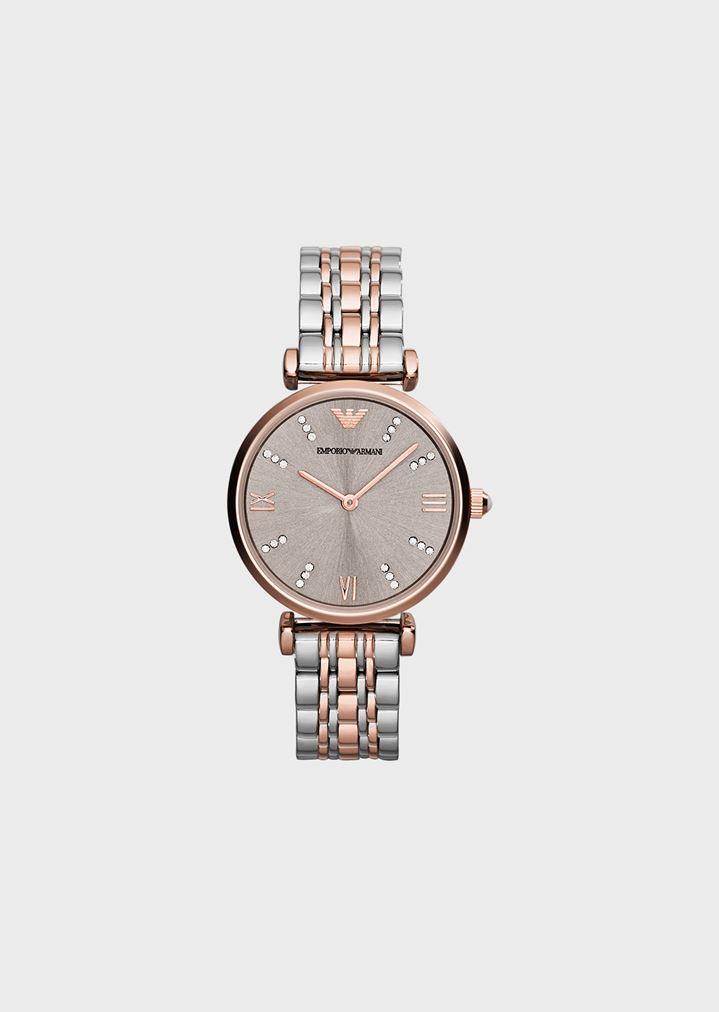 acb27ba5d4 Uhr mit geflochtenem Gliederarmband und Kristallen auf dem Blatt,  Edelstahlgehäuse mit Plattierung in Roségold