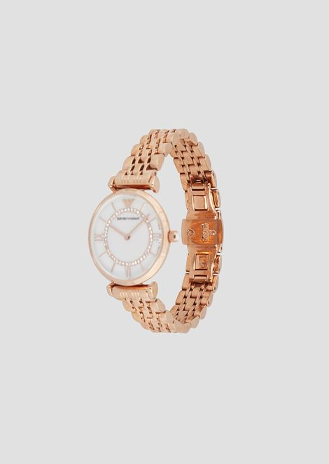 Women's rose-gold-plated analogue watch with rhinestones