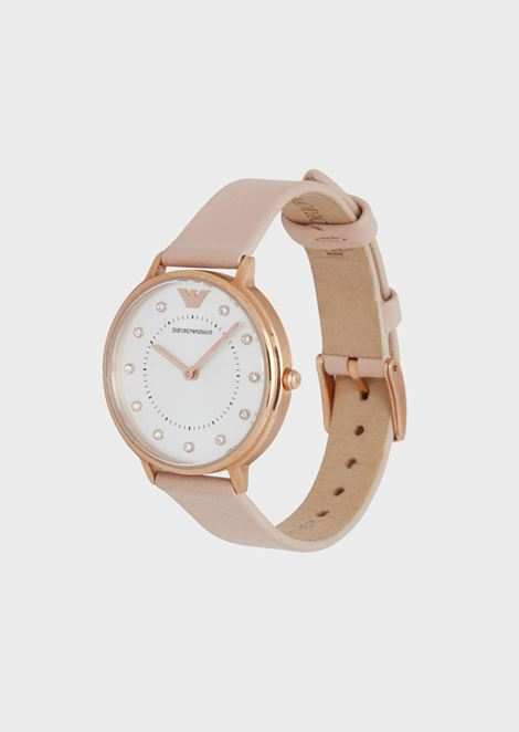 Watch with crystal appliqués and leather strap, case in rose-gold-plated steel