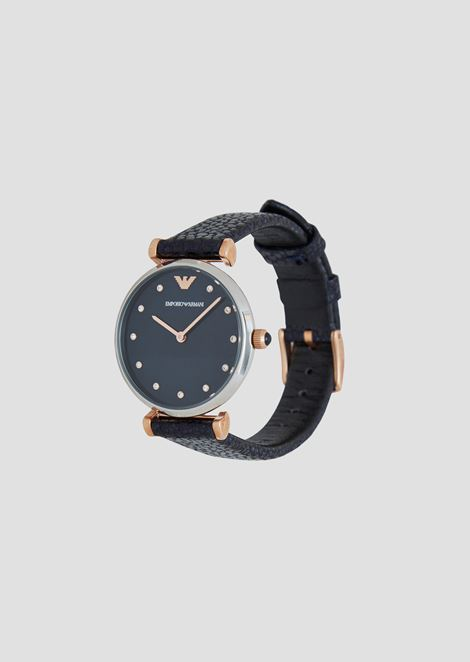 Watch with applied crystals and hammered-leather strap, case in steel, rose-gold-plated crown and hour markers
