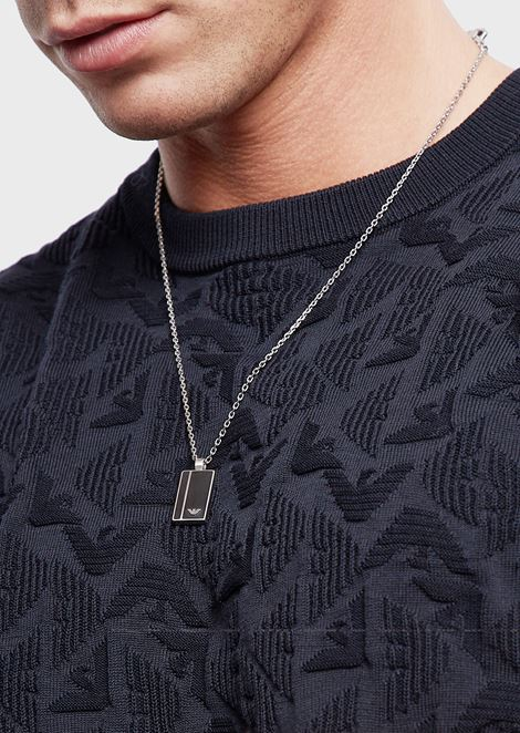 Stainless steel necklace with logo plate