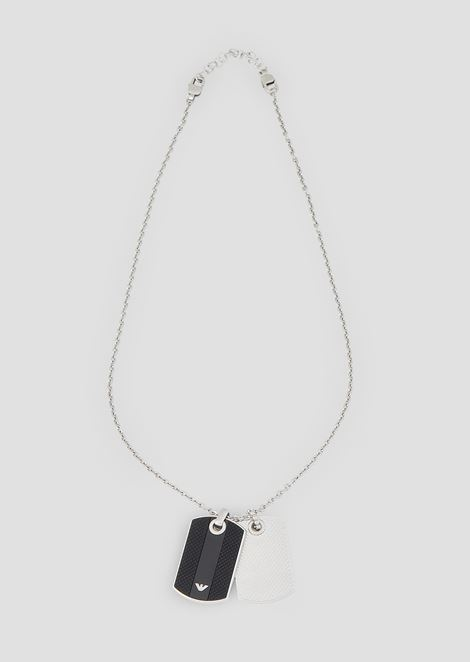 Stainless steel necklace with two tags with logo