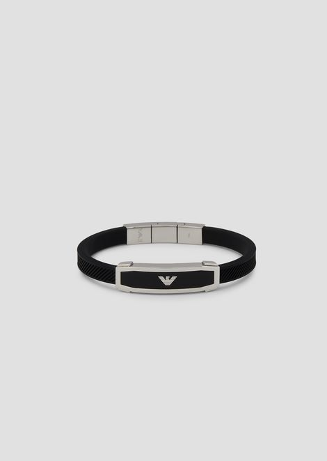 Bracelet in rubber and stainless steel with logo plate
