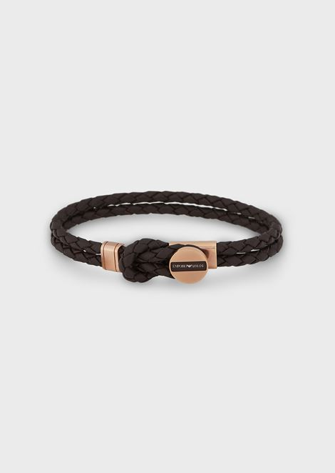 Bracelet in plaited leather with steel details and logo