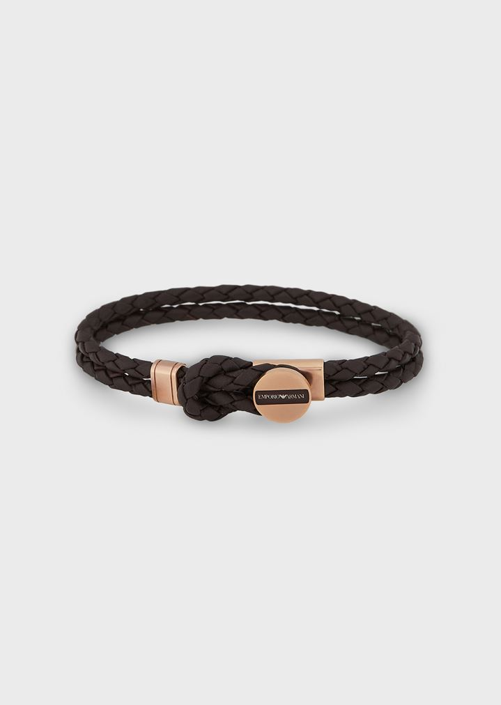 b058b848bc2ca0 Band in braided leather with steel details and logo
