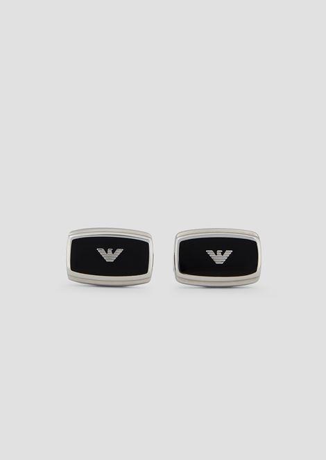 Rectangular T-bar cufflinks with central logo