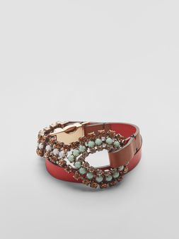 Marni BOW bracelet in leather and rhinestones  Woman