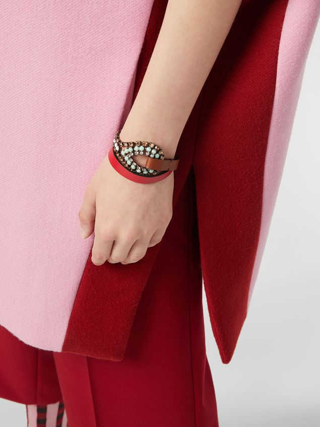 Marni BOW bracelet in leather and rhinestones  Woman - 2
