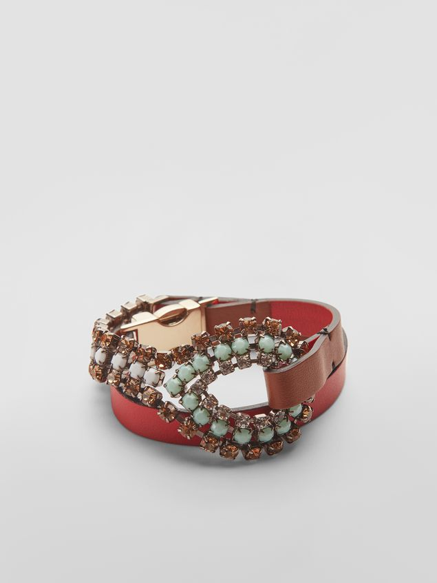 Marni BOW bracelet in leather and rhinestones  Woman - 1