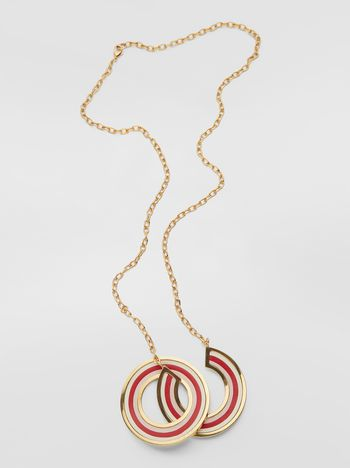 Marni RAINBOW necklace in metal and leather with two circles Woman