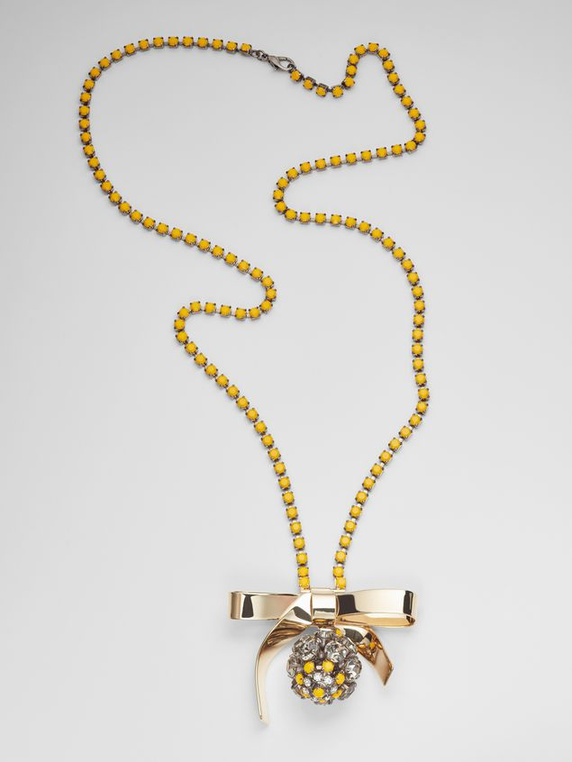 Marni BOW necklace in metal and rhinestones Woman - 1