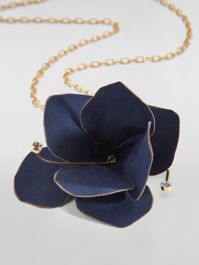 Marni FLORA necklace in fabric and rhinestones with blue flower   Woman - 3