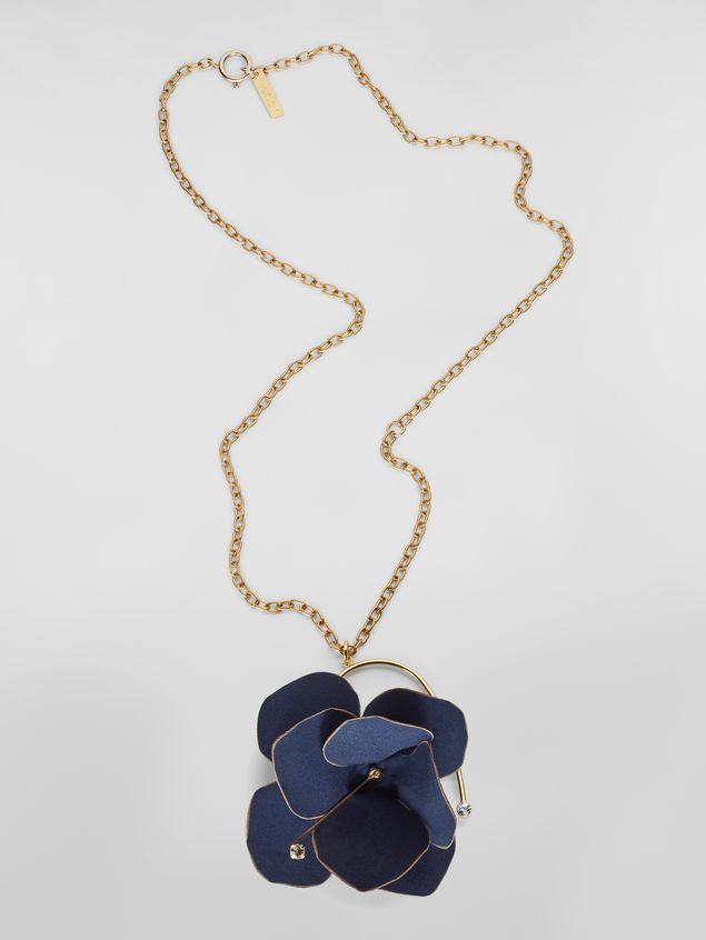Marni FLORA necklace in fabric and rhinestones with blue flower   Woman - 1