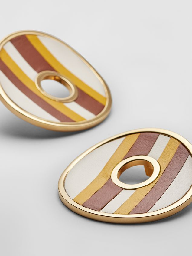 Marni RAINBOW clip-on earrings in metal and leather with circle  Woman - 4