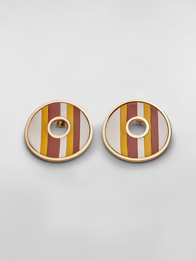 Marni RAINBOW clip-on earrings in metal and leather with circle  Woman - 1