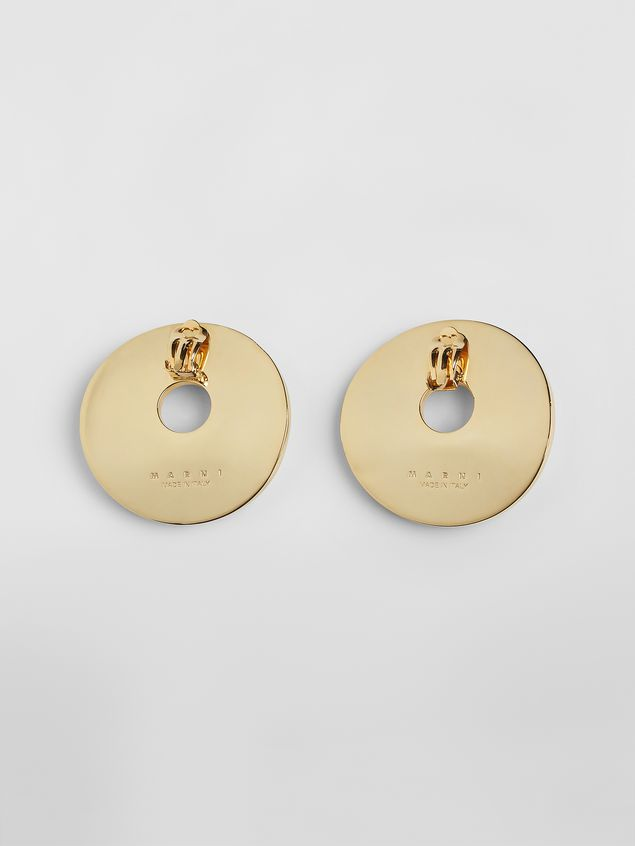 Marni RAINBOW clip-on earrings in metal and leather with circle  Woman - 3