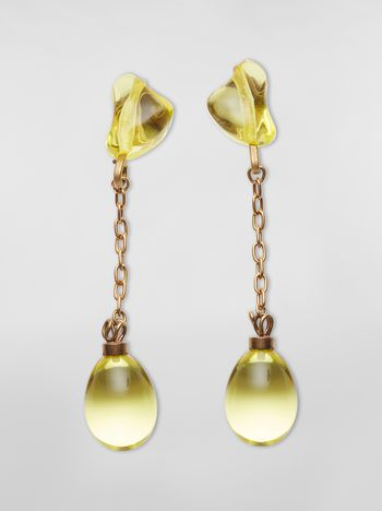 Marni COLLECT screw earrings in resin and metal with irregular drop shape  Woman