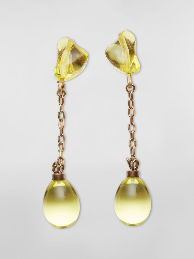 Marni COLLECT screw earrings in resin and metal with irregular drop shape  Woman - 1