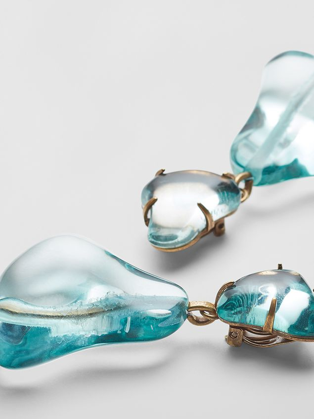 Marni COLLECT clip-on earrings in resin and metal with irregular drop shape  Woman - 3