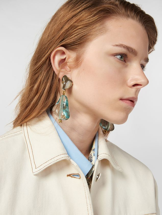 Marni COLLECT clip-on earrings in resin and metal with irregular drop shape  Woman - 2