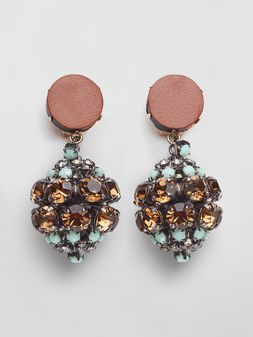 Marni BOW clip-on earrings in metal and rhinestones  Woman