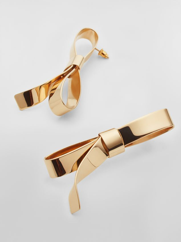 Marni BOW screw earrings in metal with bow Woman - 3