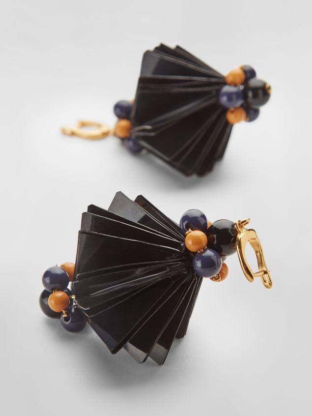 Marni FACETS hook earrings in black plastic film  Woman - 3