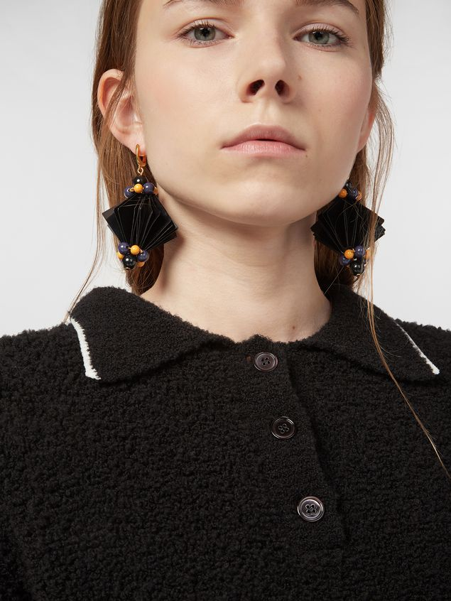 Marni FACETS hook earrings in black plastic film  Woman - 2