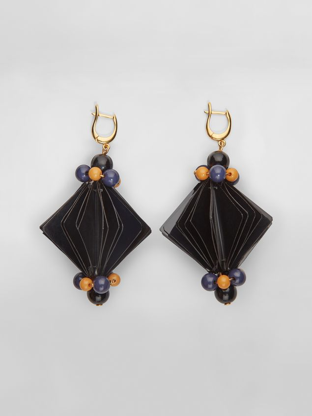 Marni FACETS hook earrings in black plastic film  Woman - 1