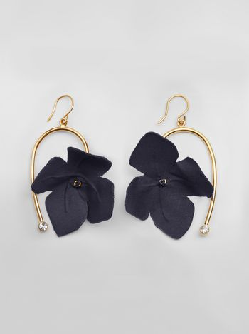 Marni FLORA earrings in fabric and rhinestones with blue flower  Woman f