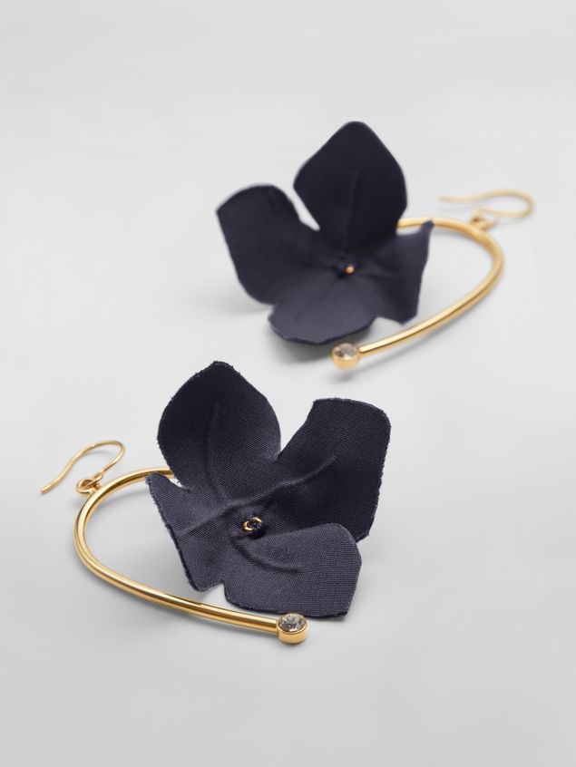 Marni Earrings in fabric and strass with flower blue FLORA Woman - 3