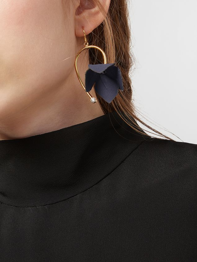 Marni Earrings in fabric and strass with flower blue FLORA Woman - 2
