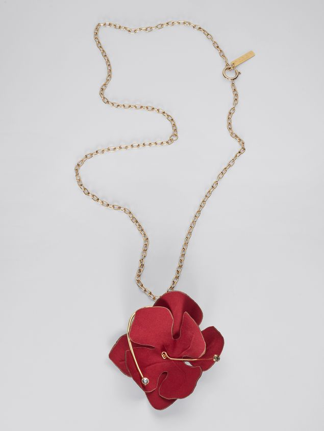 Marni FLORA necklace in fabric and rhinestones with red flower  Woman - 1