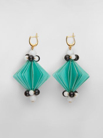 Marni FACETS hook earrings in green plastic film  Woman